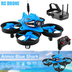 Micro FPV Racing Drone Camera With Goggles RTF Tiny Whoop Quadcopters Blue Shark $102.12
