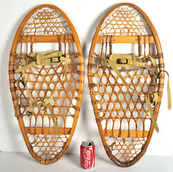 Vintage Snowshoes 13x29 Weight 125 175 made Canada Wood Decor $60.00