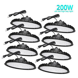 8Pcs UFO Led High Bay Lights 200W Industrial Warehouse Commercial Light Fixtures