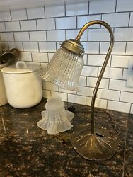 Vintage Brass Table Lamp Lilly Pad Base With Goose Neck And Extra Glass Shade $30.00