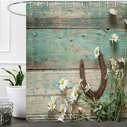 Western Rustic Teal Shower Curtains for Bathroom Country Horse Shoes Daisy Cowb $31.52