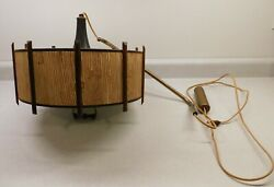Vintage 60#x27;s? Hanging Swag Wall Mounted Light Fixture Rattan Grass Cloth Shade $52.00
