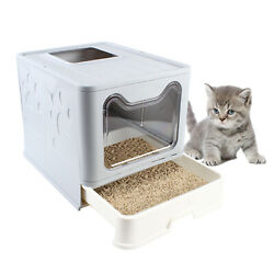 Foldable Cat Litter Tray Pet Litter Pan Covered Tray Easy Clean Pet Toilet w Lid $48.00