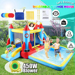 Inflatable Bouncer Water Slide Bounce House Castle Splash Pool450w Blower Funny $335.99