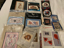 LOT OF 14 COUNTED CROSS STITCH PATTERNS AND MINI KITS SOME VINTAGE $24.90