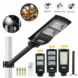 Solar Powered LED Street Light Commercial Outdoor IP67 Area Security Road Lamp