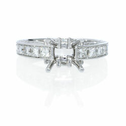18K WHITE GOLD DIAMOND ANTIQUE ENGAGEMENT RING SETTING