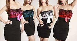 Oversized Bow Satin Sheath Cocktail Elegant Occasion Strapless Fitted Mini Dress $33.99
