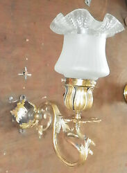FRENCH ROCOCO BRASS WALL SCONCE W ANTIQUE SHADE 4864 $175.00