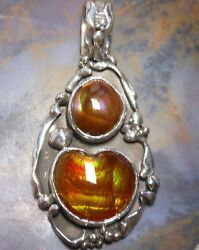 New Sterling Silver & Slaughter Camp Fire Agate Gemstone Pendant