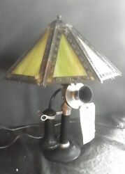 TELEPHONE LAMP WITH ANTIQUE LAMP SHADE 5118 $250.00