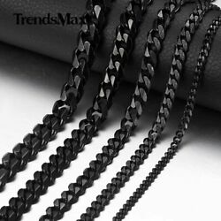 357911mm Curb Cuban Link Necklace Men's Chain Stainless Steel Black Jewelry