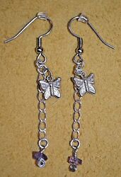 Handmade Artisan Crafted Earrings With Silver Metal Chain & Butterfly Pendants