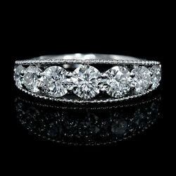 18k White Gold Diamond Antique Style Wedding Band Ring