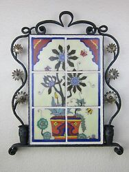 california tile cactus mural in wrought iron frame