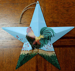 New Tin Metal Rooster Hanging Star 9.5quot; Country Decor Farm Barn Style Artwork $5.50