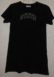 NEW WOMENS College Couture quot;MICHIGAN STATEquot; BLACK W BLING NIGHTSHIRT SIZE M