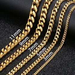18quot; 36quot; Stainless Steel Gold Tone Chain Cuban Curb Mens Necklace 3 5 7 9 11mm $11.99