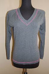 ROBERT KITCHEN Canada Gray w Pink Stitching V neck Sweater Top Size S $22.49