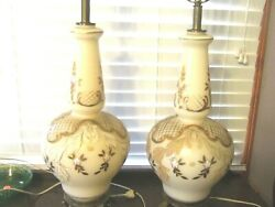 Pair of Vintage Lamps Hand Painted Satin Glass Gold Leaf Floral Lattice Embossed $199.97