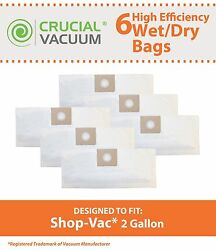6 CRUCIAL 2 Gal B Bags Fit Shop-Vac® may use instead of 90668 906-68 906-68-00