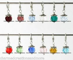 Birthstone Bead Lobster Clasp Clip Dangle Charm For Rolo Chain Floating Lockets $9.99