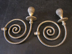 PAIR OF SILVER PLATE TWISTED ROPE CHANDELIER ARMS 6095 $75.00