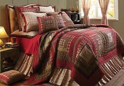 4PC TACOMA LOG CABIN BLOCK RED QUEEN CAL KING QUILT PILLOW CASES BED SET VHC