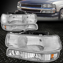 FOR 99-02 CHEVY SILVERADO CHROME HOUSING AMBER CORNER HEADLIGHT BUMPER HEAD LAMP