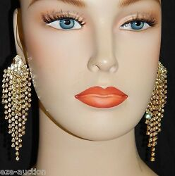 Gold Rhinestone Crystal Bridal Prom Party Chandelier Clip Earrings 42 $23.65