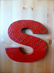 INDUSTRIAL RED METAL WALL LETTER quot;Squot; 20quot; TALL rustic vintage decor novelty sign $36.99