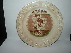 ANTIQUE STAFFORDSHIRE ALLERTON ABC CHILD'S PLATE boy stealing fruit dog fence $98.00