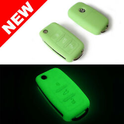 GLOW IN THE DARK GREEN SILICONE COVER FOR VW 3-BUTTON REMOTE FOLDING FLIP KEY $3.50