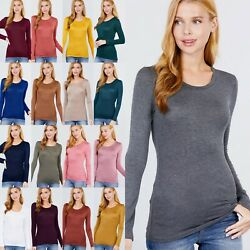 US SELLER Women#x27;s Round Neck Long Sleeve Rayon Spandex Soft Stretchy Top T1489 $10.95