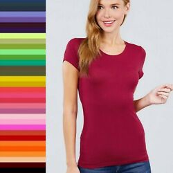 Women CREW NECK Short Sleeve Basic Tee Cotton Soft Stretch Slim T Shirt Top 8584 $8.00