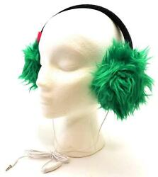Winter SO Women Men Bright Green Faux Fur Fuzzy Funky Ear Warmer Headphones 3604 $11.98