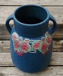 Roseville Light Blue Blackberry Vase Cabin Lodge Home Den Garage Shop Barn Decor