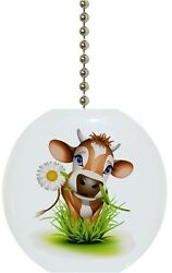 Cow in Grass Farm Animal Country Solid CERAMIC Ceiling Fan Light Lamp Pull $6.17