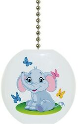Baby Elephant with Butterflies Solid CERAMIC Ceiling Fan Light Lamp Pull $6.17