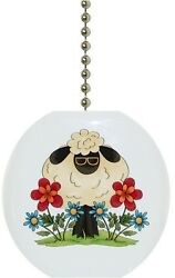 Sheep in Flowers Country Solid CERAMIC Ceiling Fan Light Lamp Pull $6.17
