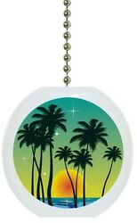 Tropical Sunset Palm Tree Solid CERAMIC Ceiling Fan Light Lamp Pull $6.17