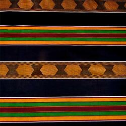 Kente Cloth Print Cotton Fabric  Wax Dyed Black Gold RedGreen made in Africa $5.99