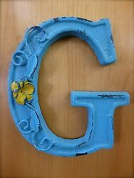 BLUE CAST IRON WALL LETTER quot;Gquot; 6.5quot; TALL rustic vintage decor sign child nursery $18.95