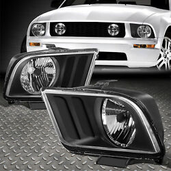 FOR 05-09 FORD MUSTANG S197 PAIR BLACK HOUSING HEADLIGHT REPLACEMENT HEAD LAMPS $57.88