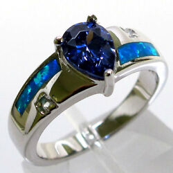 SUPERB TANZANITE BLUE OPAL 925 STERLING SILVER RING SIZE 7
