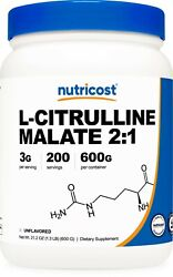 Pure L Citrulline Malate 2:1 by Nutricost 600 Grams $29.95