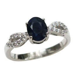 WONDERFUL 1.5 CT GENUINE AFRICAN SAPPHIRE 925 STERLING SILVER RING SIZE 5 10 $13.79
