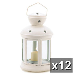 12 WHITE COLONIAL CANDLE HOLDER LANTERN TABLE CENTERPIECES NEW~~14124