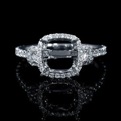18K WHITE GOLD DIAMOND ANTIQUE STYLE HALO ENGAGEMENT RING SETTING