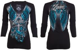 Archaic Affliction Womens LS T Shirt ROSEMARY Biker BLACK TEAL Sinful S XL $58 $24.99